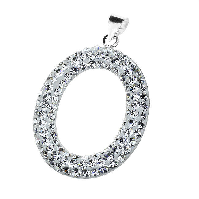 Ovális ezüst medál fehér kristályokkal
