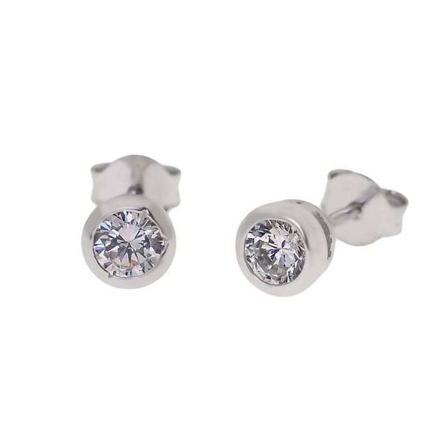 Kerek köves ezüst fülbevaló - 3 mm