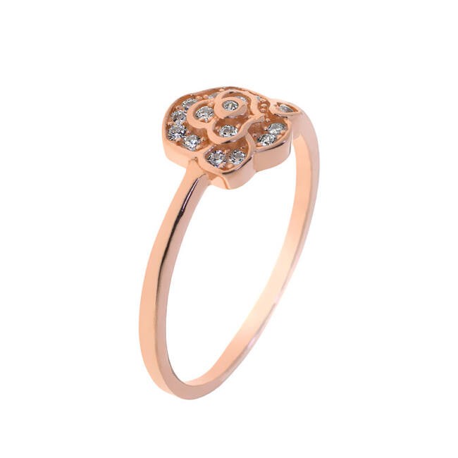 Virágos rose gold ezüst gyűrű
