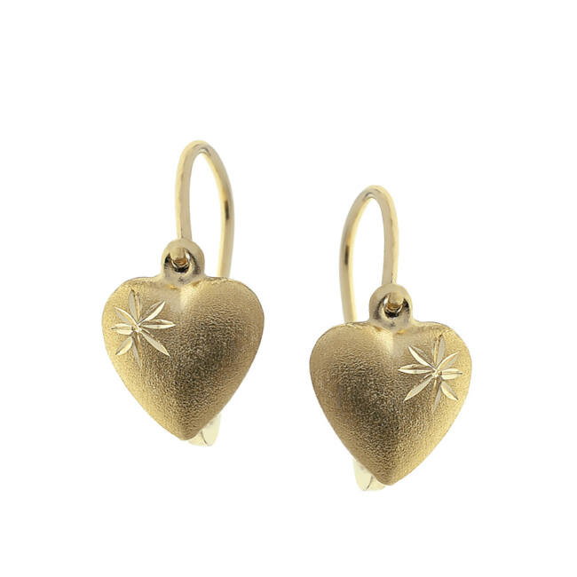 Szívecske arany fülbevaló