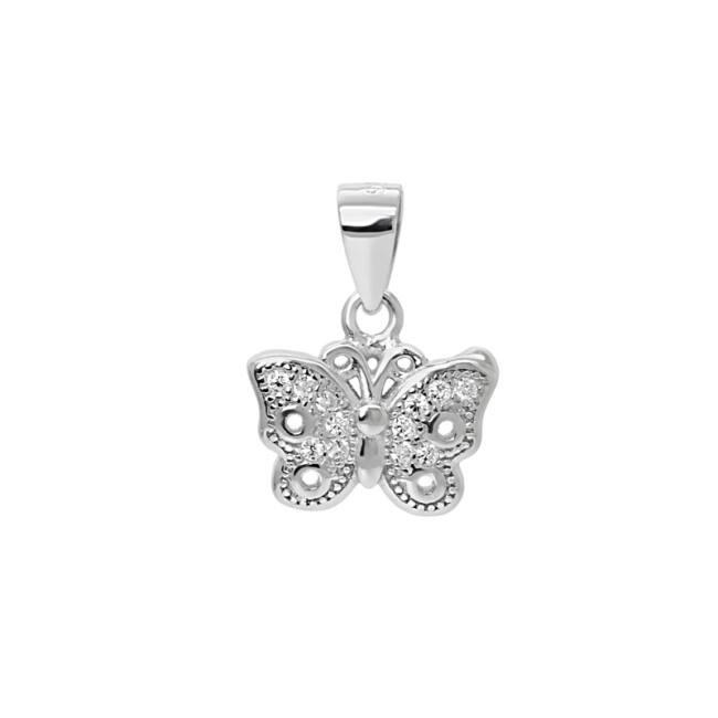 Köves pillangó ezüst medál