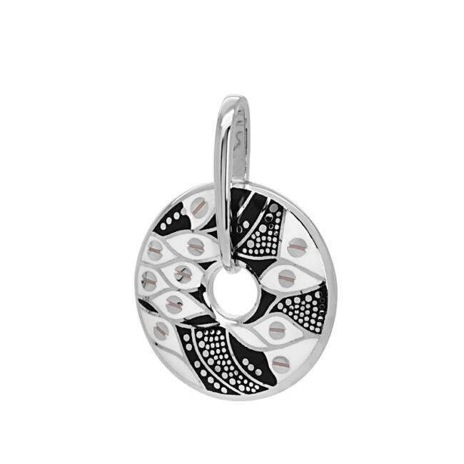 Fekete fehér betétes ezüst medál
